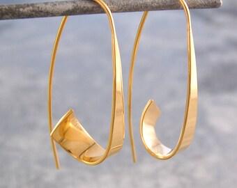 Gold Hoop Earrings - Gold Earrings - Gold Drops - Gold Dangly Earrings - Gold Drop Earrings - Hoop Earrings - Drop Hoop Earrings -  Hoops