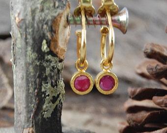 Ruby Earrings, Gold Hoop Earrings, Hoop Earrings, Gemstone Earrings, Dangly Earrings, Textured Earrings, Gold Ruby Drops, July Birthstone
