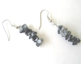 Black Osidian Earrings/ Stone Chip Earrings/ Snowflake Obsidian Earrings/ Natural Stone Earrings