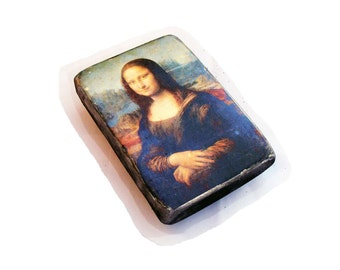 "SALE ! 16x11cm (6x4"") the Mona Lisa (La Gioconda or La Joconde) on wood. Portrait, painting of a woman by Italian artist Leonardo da Vinci"