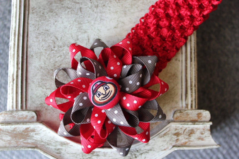 Ohio State inspired Flower Hair Bow & Headband Baby Girl