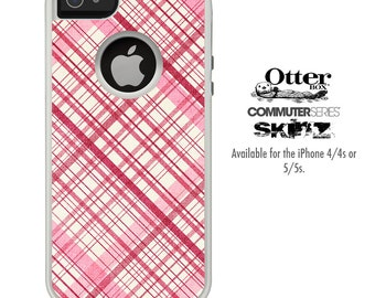 The Vintage Pink Striped Skin For The iPhone 4-4s or 5-5s Otterbox Commuter Case