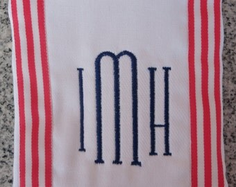 Monogram Baby Burp Cloth with Pink Striped Ribbon / Monogram Baby Gift