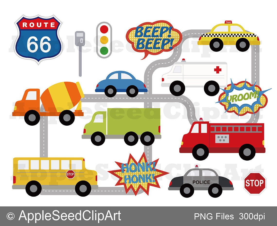 Transportation Digital Clip Art Cute Vehicles Digital Clip