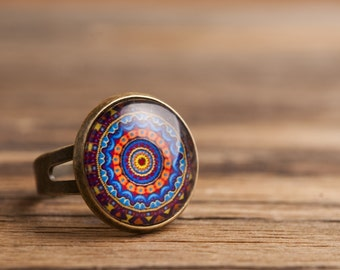 Mandala ring, adjustable ring, statement ring, antique brass ring, glass dome ring, antique bronze ring, colorful ornament ring, some magic