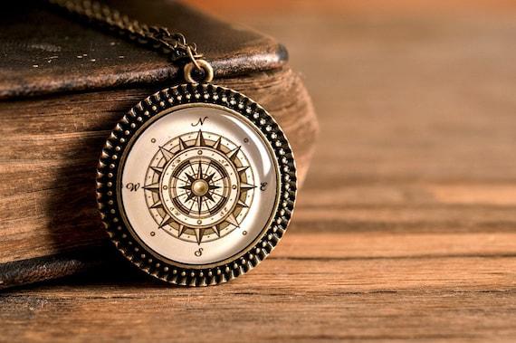 Antique compass necklace vintage compass necklace antique