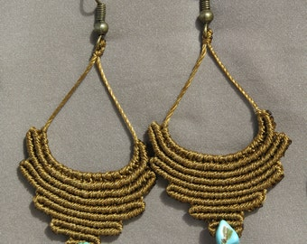 Macrame tribal earrings with Turquoise