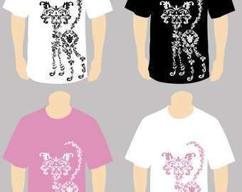 Cat shirt, Pretty Cat Shirt, Floral Cat Shirt, Crazy Cat Lady Shirt, Damask Print Swanky Cat T-shirt