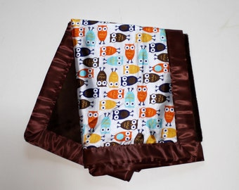 Super Soft Chocolate Brown Minky and Silky Soft Owls Baby Blanket Minky Blanket