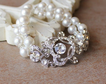 Ivory Pearl & Crystal Bridal Cuff, Vintage Wedding Bridal Bracelet, Bridal Jewelry, LONDON