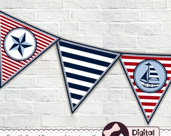 Printable Nautical Bunting Banner, Triangle, Pennant, Instant Download Banner