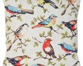 Cath Kidston Cushion Cover Birds Pillow Throw Case Design Children's Kid's Cotton Fabric Printed Garden Bird