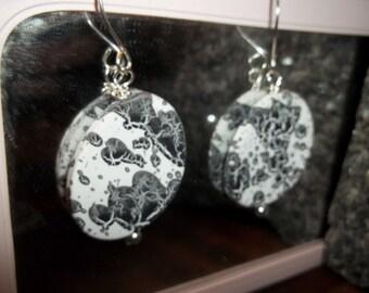 Black and White Rubberized Bead Dangle Earrings  #1Berg
