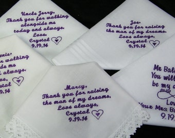 Five (5)  Personalized Wedding Handkerchiefs, Bride, Groom, Father, Mother, Grandma - 25 Words