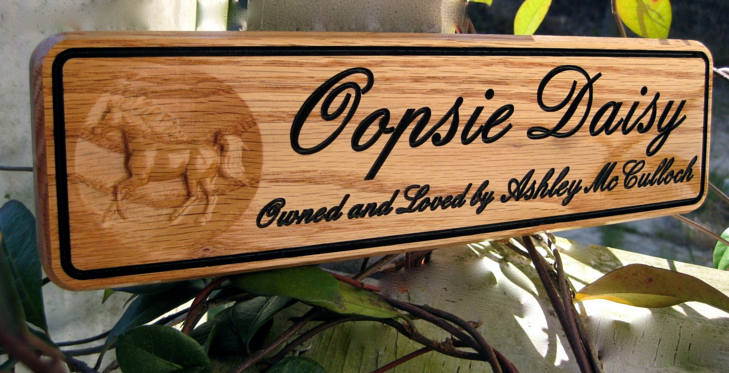 Horse Name Plates Personalized Horse Stall Sign Custom Barn