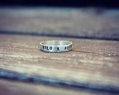 Wild & Free Sterling Silver Sing, Text Ring, Stackable Ring, Text Stacking Ring , Handstamped Ring, Mountain Ring, Personalized Text Ring
