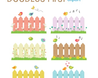 Birds On Fences Digital Clip Art for Scrapbooking Card Making Cupcake Toppers Paper Crafts