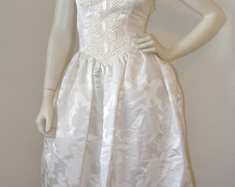 Vintage 1980s White Strapless Formal Dress or Wedding dress by Scott Mclintock