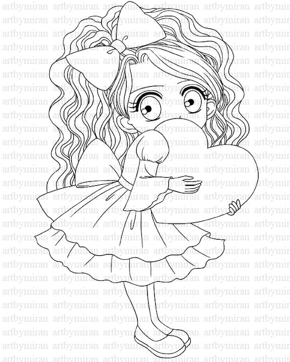 valentine digital stamp24 digi stamp cute girl by artbymiran