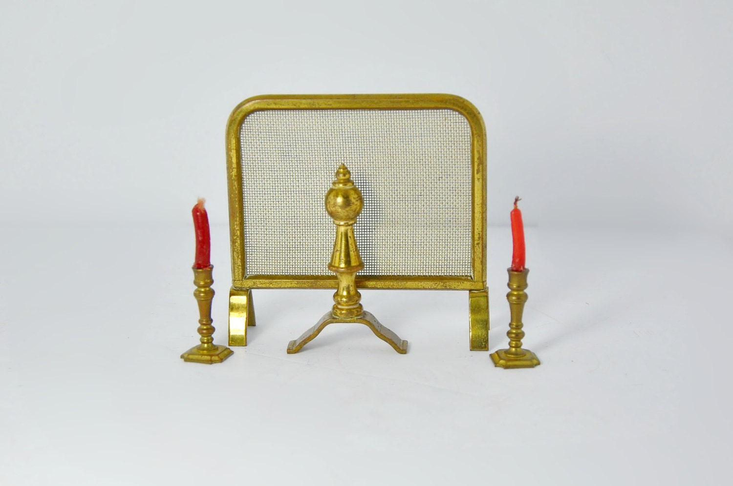 Vintage Dollhouse Furniture Brass Fireplace Miniatures Fireplace Screen Iron Candle Holders