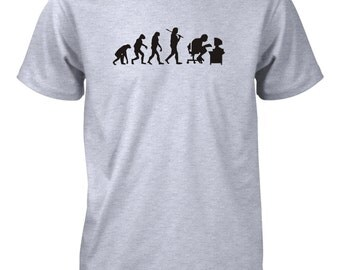 Evolution of Man Computer Funny T-Shirt Geek Nerd Gamer School