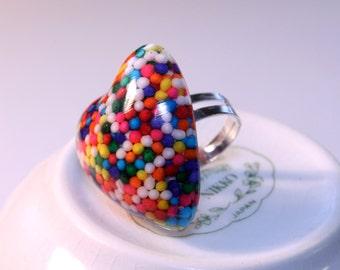 Domed Heart Rainbow Sprinkles Adjustable Ring