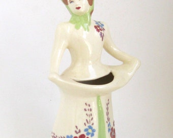 Weil Ware California Figural Vase Girl With The Chartreuse Hat
