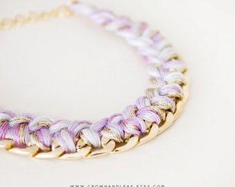Lilac / Braided Chain Bracelet / Curb Chain / Woven Bracelet / Bridesmaid / Gold Chain Bracelet / Friendship Bracelet / Braided Bracelet