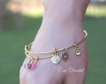 Personalized Birthstone Bangle in Silver or Gold Tone, Choose Your Birthstones, Birthstone Bracelet, Family Bracelet