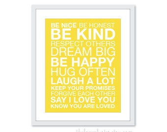 Family Rules Art Print - Modern - Sunny Yellow -  Be Kind Typography Poster - House Rules - Subway Sign - 8x10