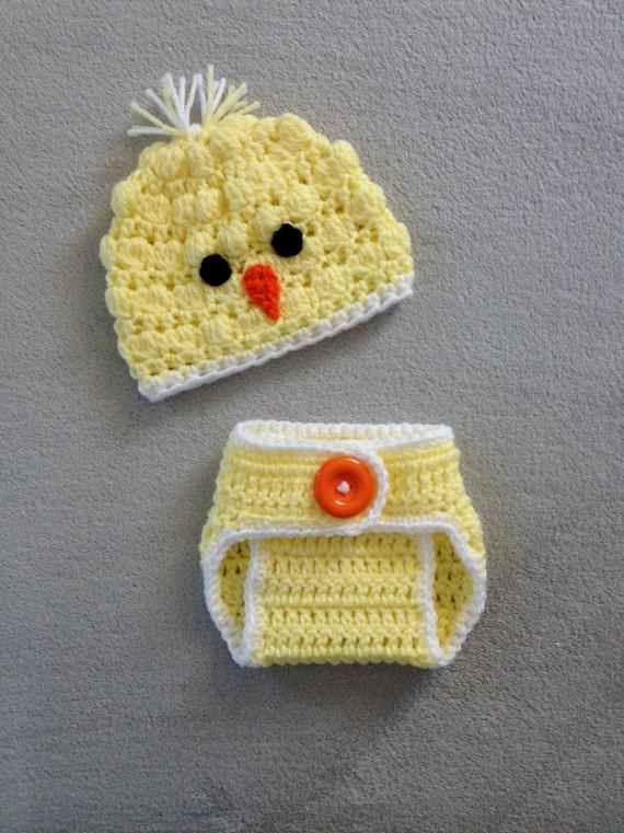 Newborn Crochet Chicken Hat Pattern : Items similar to Crochet Spring Chicken Hat & Diaper Cover ...