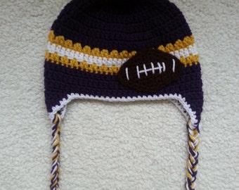 Crochet MN Vikings Earflap Hat