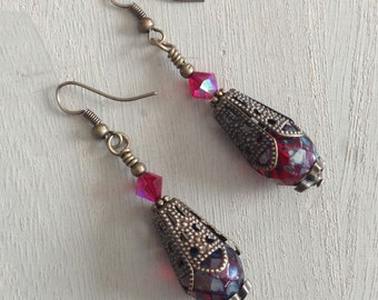 Romantic Picasso Czech Glass Bead and Swarovski Crystal earrings