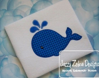 Whale Appliqué embroidery design with Square Diagonal Stitching Design - whale appliqué design - summer appliqué design - beach appliqué