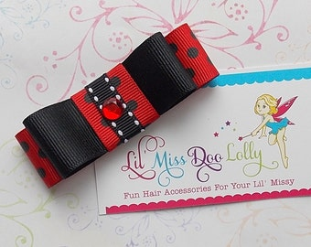Jumbo Tuxedo Bow Hair Clippie-Tuxedo Bow Hair Accessory- Tuxedo Hair Clip-  Barrette-Ladybug Red and Black(Set of 1)