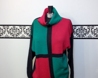 1980's Colorblocked Turtleneck Sweater in Green, Pink and Grey by Apart Fashion (made in France), Large / XL Vintage 80's Pull over Sweater