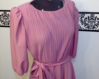 1960's Rose Pink Pleated Rockabilly Dress by Sally Petite, Size 10, Vintage Mad Men 50's Party / Day Dress, Bridesmaid, Wedding, Reception