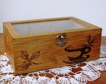 "Tea Box, Woodburned, Design I, 9"" x 6"" x 3.5"" (22 cm x 15 cm x 9 cm)."