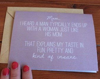 Funny Mom from Son Card - Mom Birthday Card - Mother's Day Card - Thoughtful Card - Card for Mother - Mother's Day