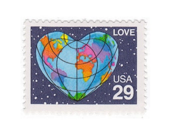 5 Unused Vintage Postage Stamps - 1991 25c Heart Globe Love - No. 2535