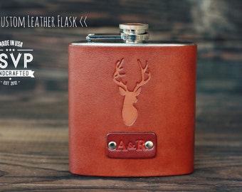 Custom Leather Flask, Handmade personalized gift for your boyfriend, Groomsman, husband, best man. Deer, stag, anthers. Pick Initials, text