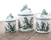 TAKE 10% OFF***Set of 3 French Chinoiserie Jars- Green and White, Hand-painted, Maker's Mark