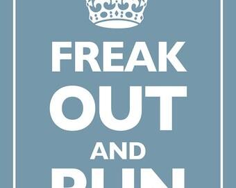 Keep Calm and Carry On Parody Blue - Giclee Print