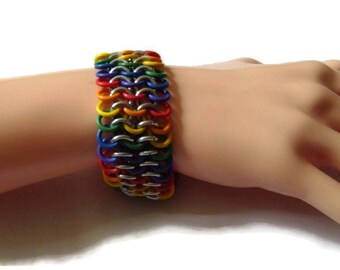 Rainbow Stretchy Chainmaille Bracelet - LGBT Pride Bracelet