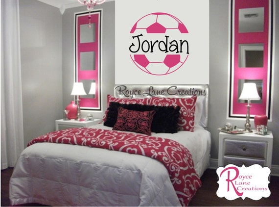 soccer wall decal b43 girls room teen girl bedroom teen room decor
