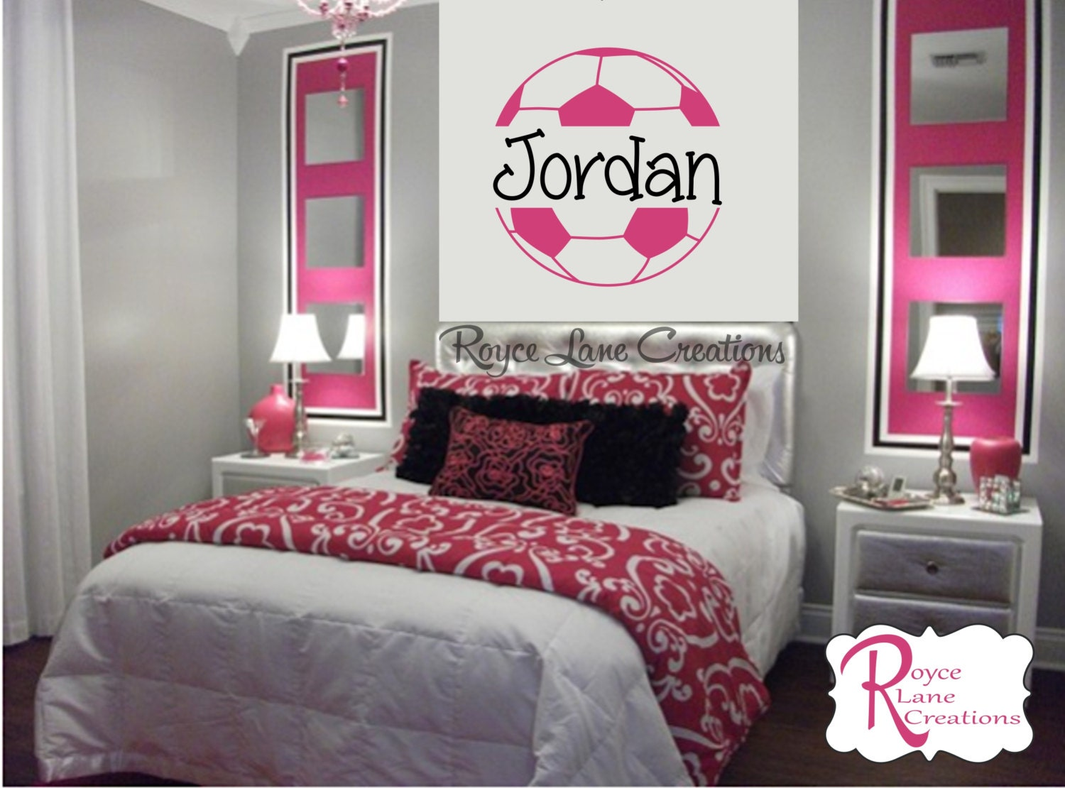Soccer ball soccer wall decal b4 for girls room teen girl for Teen girl room decor