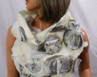 Hand made silk shawl on natural silk, silk scarves, silk scarf, Nuno felting, Nuno felted. Felted with Australian merino wool. White, gray