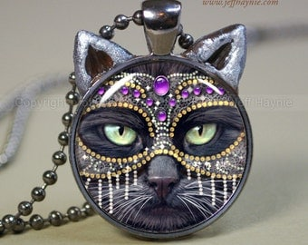 CAT NECKLACE // Black Cat pendant // Mardi Gras pendant // black cat jewelry // Black Cat with mask Pendant // Cat Lover // KM3