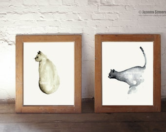 Cats paintings, abstract watercolor print, cat art print, Set of 2 watercolor paintings, wall decor, home decor housewares