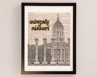 Mizzou Columns Dictionary Art Print - Jesse Hall on the Quad - Print on Dictionary Paper - Columbia, CoMO, University of Missouri Art